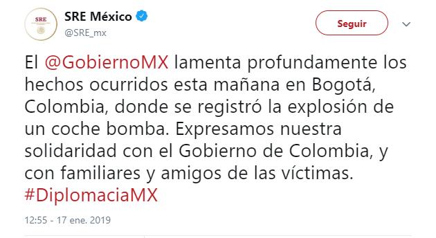 Gobierno de México lamenta ataque en Colombia. (@SRE_mx)
