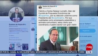 Gustavo de Hoyos felicita a Lomelín, nuevo presidente del CCE
