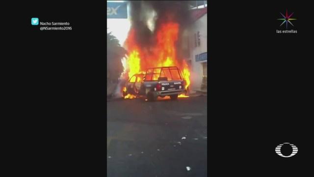 Incendian Patrullas Que Provocaron Accidente En San Martín Texmelucan, Incendian Patrullas, San Martín Texmelucan, Pobladores De San Martín Texmelucan, Puebla
