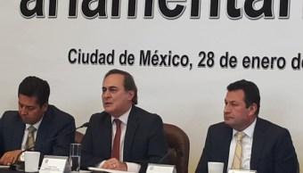 Foto: El presidente del Consejo Coordinador Empresarial, Juan Pablo Castañón, asiste a los trabajos de la asamblea plenaria de los senadores perredistas, enero 28 de 2019 (Twitter: @jmfocil)