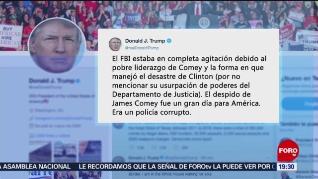Trump arremete contra exdirector de FBI James Comey
