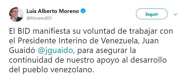 Foto: Luis Alberto Moreno, presidente del BID escribe en Twitter sobre Guaidó 23 de enero de 2019 (Twitter: @MorenoBID)
