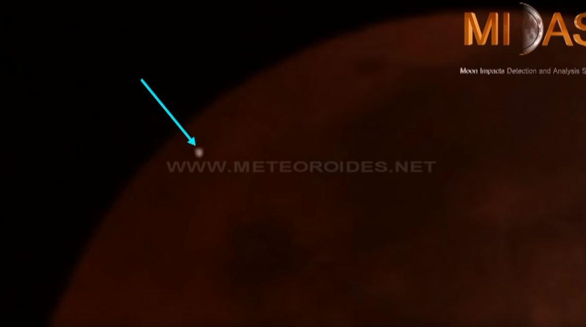 Foto: Meteorito impacta a la Luna durante el eclipse, 20 de enero 2019.