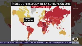 México cae tres lugares en índice de corrupción mundial