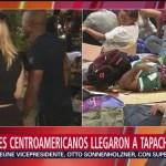 Migrantes centroamericanos descansan en Tapachula, Chiapas