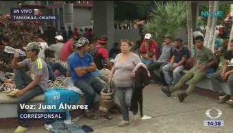 Migrantes hondureños son recibidos en Chiapas