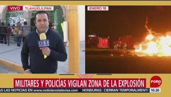 Militares y policías vigilan la zona de la explosión en Tlahuelilpan