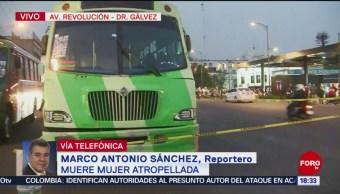 Mujer muere atropellada por microbús en Av. Revolución