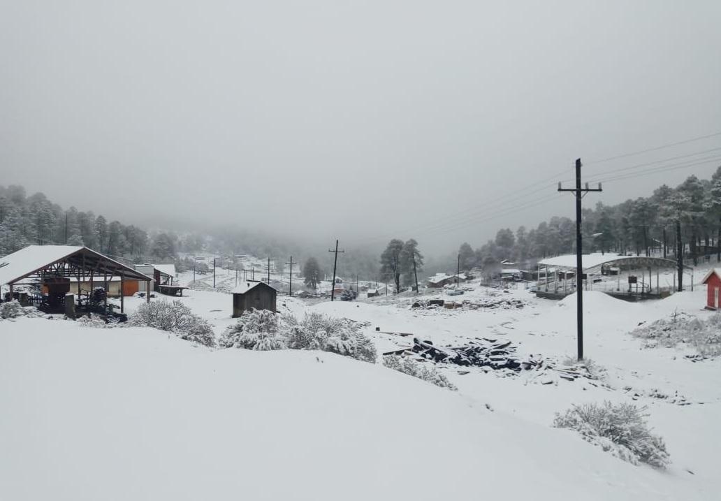 Clima Durango; nevadas en cuatro poblados de Guanaceví