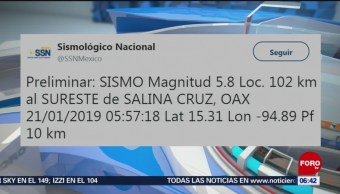 Ocurre sismo de magnitud preliminar 5.8 en Salina Cruz, Oaxaca