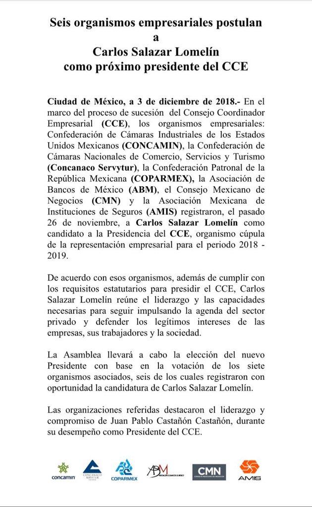 Organismos empresariales avalan la elección de Carlos Salazar