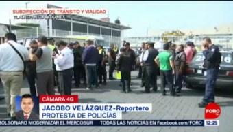 Policías de Tlalnepantla protestan por aumento salarial