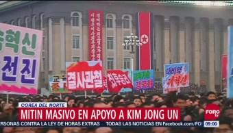 Mitin masivo en Corea del Norte para apoyar a Kim Jong Un