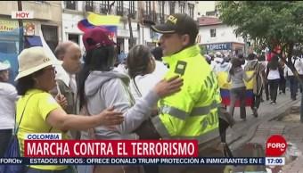 Realizan marcha contra el terrorismo en Colombia