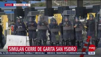 Realizan simulacro de cierre de garita San Ysidro