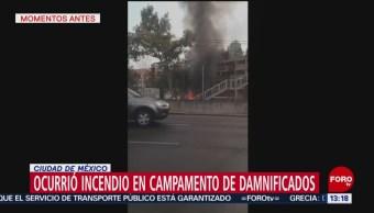 Se Incendia Uno De Los Campamentos Del Multifamiliar Tlalpan, Campamentos Del Multifamiliar Tlalpan, Alcaldía Coyoacán, Sismo De 19 De Septiembre De 2017