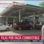 Se presentan largas filas en gasolineras por falta de combustible en Monterrey