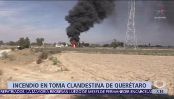 Se registra incendio de toma clandestina de combustible en Querétaro