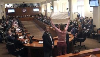 Foto: Activista interrumpe la sesión extraordinaria de la OEA sobre la crisis en Venezuela, 24 enero 2019