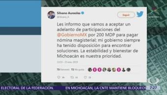 Silvano Aureoles acepta adelanto por 200 mdp para pagar a maestros