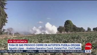 Sin riesgo para población, tras fuga de gas LP en Puebla