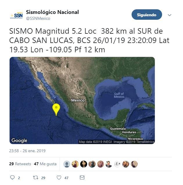se registra sismo magnitud 5.2 cabo san lucas bcs