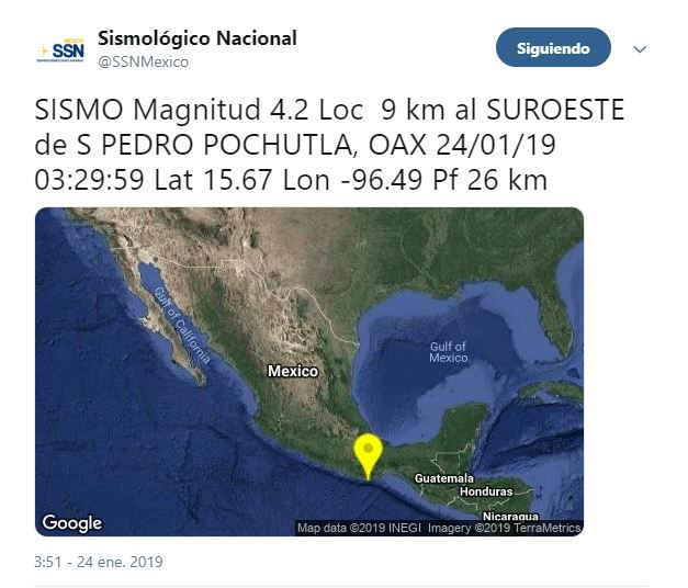 Foto: Mapa con epicentro de sismo en San Pedro Pochutla, Oaxaca, el 24 de enero 2019
