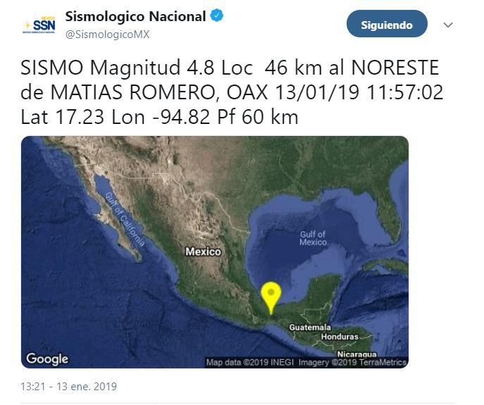 Un sismo de magnitud 4.8 se registra en Oaxaca; no hay reporte de daños