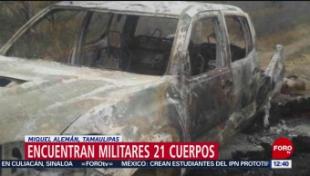 Suman 21 cuerpos y 7 vehículos calcinados en Miguel Alemán, Tamaulipas