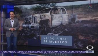 Suman 24 muertos por enfrentamiento en Miguel Alemán, Tamaulipas