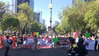 Foto: Trabajadores de Pemex bloquean Paseo de la Reforma 25 enero 2019
