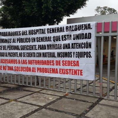 Trabajadores del Hospital Balbuena protestan por falta de suministros