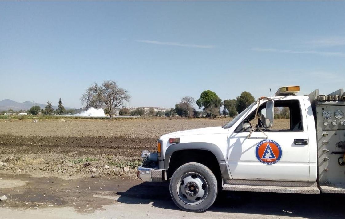 Foto: trabajos para controlar fuga de gas LP en Puebla, 30 de eenro 2019. Twitter @PC_Estatal