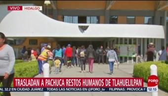 Trasladan a Pachuca restos humanos de Tlahuelilpan, Hidalgo
