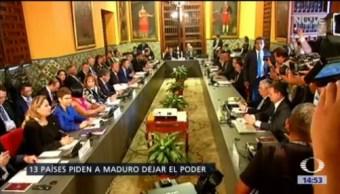 Trece países piden a Maduro dejar el poder