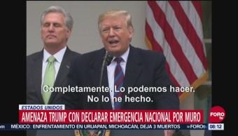 Trump Amenaza Con Declarar Emergencia Para Construir Muro, El Presidente De Estados Unidos, Donald Trump, Muro En La Frontera Con México