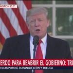 Foto: Trump confirma acuerdo para reabrir Gobierno por tres semanas