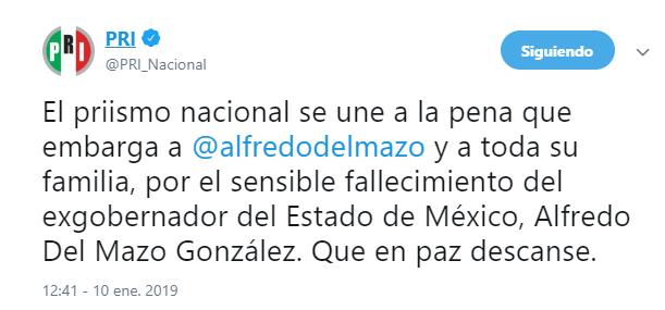 Muere padre de Alfredo del Mazo y exgobernador del Edomex (Twitter PRI)