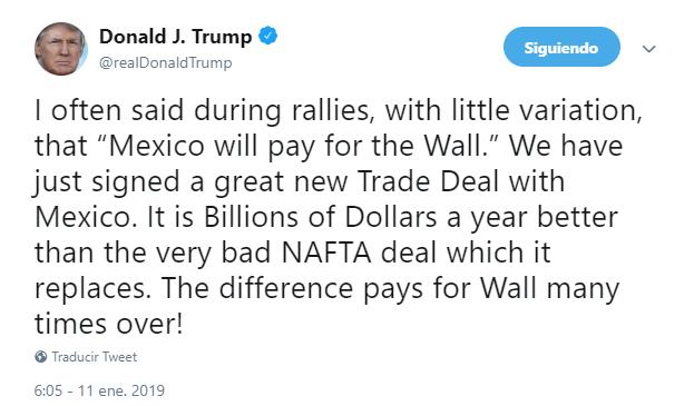 Trump insiste que México ya paga el muro