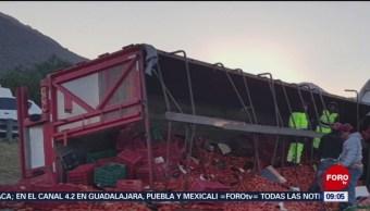 Vuelca camión con toneladas de jitomates, en Hidalgo