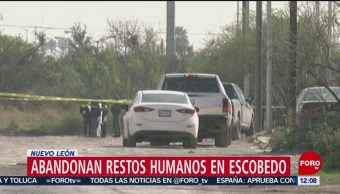 Abandonan restos humanos en Escobedo, Nuevo León