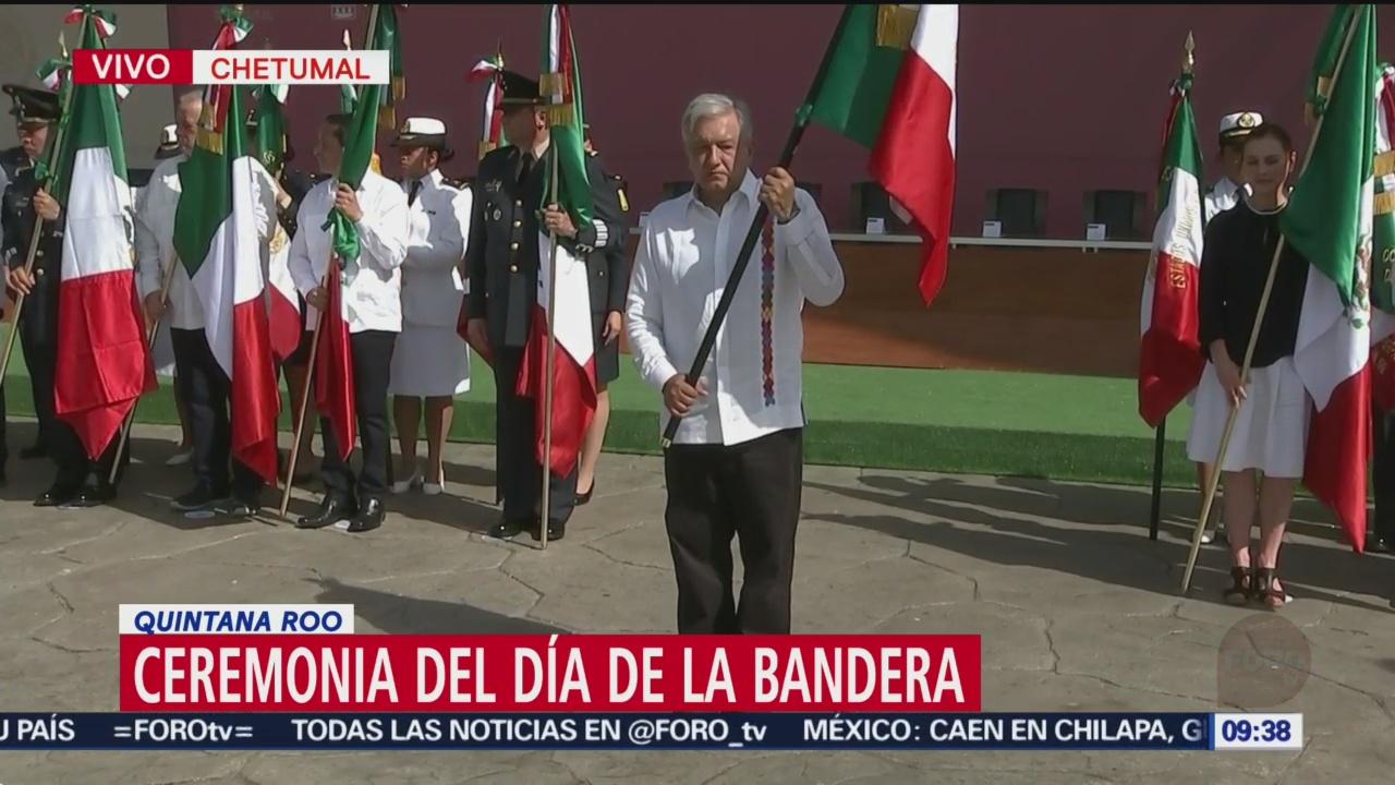 FOTO: AMLO encabeza la ceremonia del Día de la Bandera, 23 febrero 2019