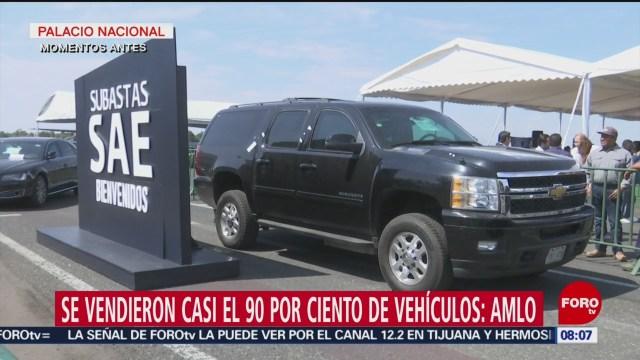 AMLO: Se vendió el 90% de los vehículos que se subastaron