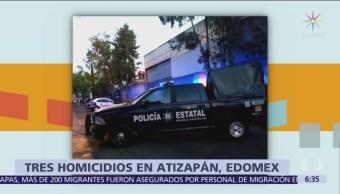Asesinan a tres hombres en Atizapán, Edomex