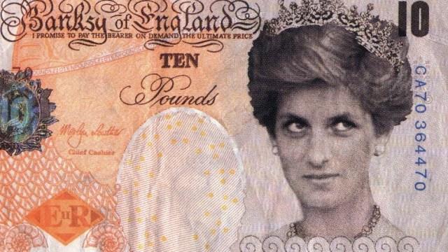 Banksy llega al Museo Británico con billete de Lady Di