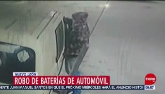 FOTO: Captan robo de baterías en Apodaca, Nuevo León, 3 febrero 2019