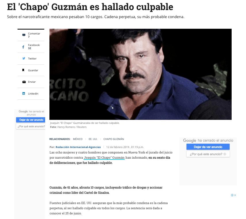 Foto Así reaccionaron los medios del mundo a la condena de 'El Chapo' 12 febrero