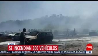 FOTO: Cientos de autos se queman en espectáculo aéreo en India, 23 febrero 2019