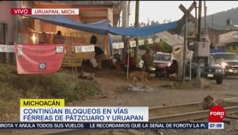 CNTE retoma bloqueos en vías férreas de Pátzcuaro y Uruapan
