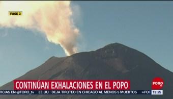 FOTO: Continúan exhalaciones en el Popocatépetl, 17 febrero 2019
